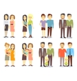 Set of gay LGBT happy families vector image vector image