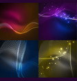 set of particles smoke wave backgrounds vector image