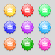 Sold icon sign symbol on nine wavy colourful vector image vector image