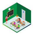 template for design schoolchildren and a teacher vector image