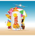 travel summer background with sun cream vector image vector image