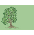 tree on a green background vector image vector image