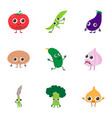 vegetable garden mix icons set cartoon style vector image