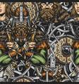 viking colorful vintage seamless pattern
