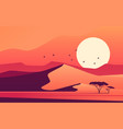 vivid sunset over african desert dunes vector image vector image