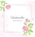 watercolor beautiful pink english rose flower vector image vector image