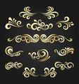 golden decorative curly shapes set vector image