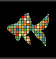 goldfish fish mosaic color silhouette aquatic vector image