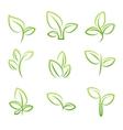 Leaf simbol Set of green leaves design elements vector image