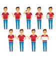 young man character set in various poses isolated vector image