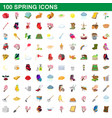 100 spring icons set cartoon style vector image vector image