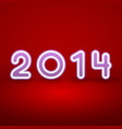 2014 New Year image on red background with white vector image