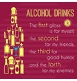 Alcohol poster with bottle icons vector image