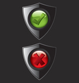 Black shield check mark icons vector image vector image