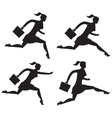 Business lady running set of silhouettes vector image vector image