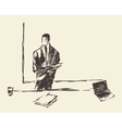 Businessman presenting concept sketch vector image