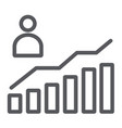 career growth line icon increase and diagram vector image vector image