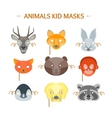 Cartoon Animals Party Mask Set for Kid vector image vector image