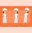 cartoon flat chef cook woman character set vector image vector image