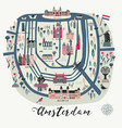 cartoon map amsterdam with legend icons vector image vector image