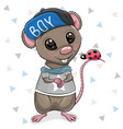 cartoon rat in cap on a white background vector image vector image