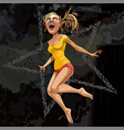 cartoon strongly surprised girl in a jump on a vector image