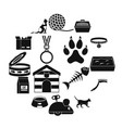 cat care tools icons set simple style vector image vector image