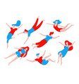 collection of people flying dreaming concept vector image vector image