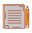 document with pencil isolated icon vector image vector image