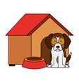 dog wooden house bowl vector image vector image