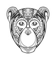 doodle monkey and boho pattern for your creativity vector image