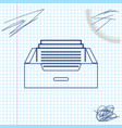 drawer with documents line sketch icon isolated on vector image vector image