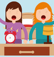 girls waking up with bed clock lamp in room vector image vector image