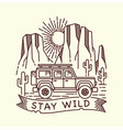 hand drawn desert adventure line vector image