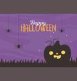 happy halloween funny pumpkin hanging spiders vector image vector image