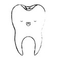 healthy kawaii tooth with root in monochrome vector image