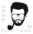 hipster fashion set bearded face avatar vector image vector image