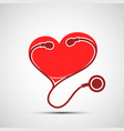 icon medical stethoscope and red human heart vector image