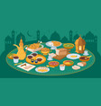 iftar ramadan banner with food and drinks eating vector image