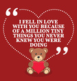 Inspirational love marriage quote I fell in love vector image vector image