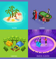 isometric people recreation concept vector image vector image