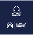 logo moving house blue background vector image vector image