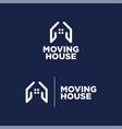 Logo moving house blue background