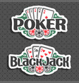 logo poker and black jack vector image