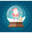 Magic glass snow globe with cute and happy Santa vector image vector image
