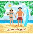 man and woman couple vacation summer time on the vector image vector image