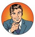 Man pointing finger in the circle vector image vector image
