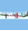 man taking photo skiers couple ski resort hotel vector image