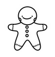 merry christmas celebration gingerbread man thick vector image vector image