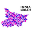 mosaic bihar state map of round items vector image vector image